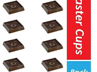 Furniture Caster Cups for Carpet and Finished Surfaces  2a Square Rubber Anti Slip Wheel Grippers Floor Protectors  8 Pack  Brown