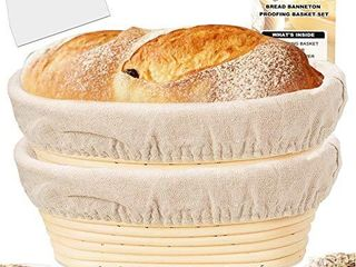 Farielyn X 2 Packs 10  Oval Shaped Bread Banneton Proofing Basket   Baking Dough Bowl Gifts for Bakers Proving Baskets for Sourdough lame Bread Slashing Scraper Tool Starter Jar Proofing Box