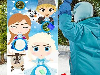 PANTIDE Frozen Toss Game Banner with 4 Bean Bags  Snow Queen Elsa Anna Party Games Activities for Kids and Adults  Frozen Theme Indoor Outdoor Throwing Game Birthday Party Decoration Supplies