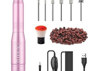 Portable Electric Nail Drill Machine  Professional 20000 RPM USB Manicure Pedicure Drills for Acrylic Nails Gel Polishing Shape Tools with Nail Drill Bits and Sanding Bands Efile Nail Drill Kit   Pink
