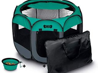 Ruff  n Ruffus Portable Foldable Pet Playpen   Carrying Case   Collapsible Travel Bowl  Extra large  48  x 48  x 23 5   Medium  29  x 29  x 17  with Free Bonus  Aqua