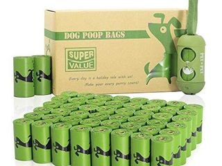 PET N PET Poop Bags 720 Green Earth Friendly Dog Poop Bags Refill Rolls With 1 Free Biobased Poop Bag Dispenser large Dog Waste Bags Unscented Standard and EPI Additive