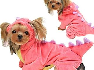 Halloween Costume for Pet Dog Cat Dinosaur Plush Hoodies Animal Fleece Jacket Coat Warm Outfits Clothes for Small Medium Dogs Cats Halloween Cosplay Apparel Accessories  X large  Pink