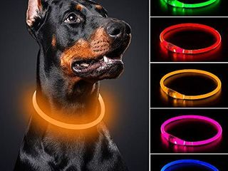 BSEEN lED Dog Collar   Cuttable Water Resistant Glowing Dog Collar light Up  USB Rechargeable or Battery Powered Pet Necklace loop for Dogs  USB Rechargeable 70cm  l Can be cuttable  Orange