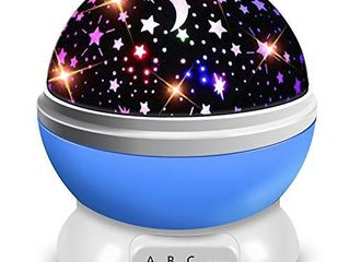 Moredig Starry Ceiling Night light Projector  360 Degree Rotating light Projector with 8 Color light Change for Kid Baby   Blue Night light
