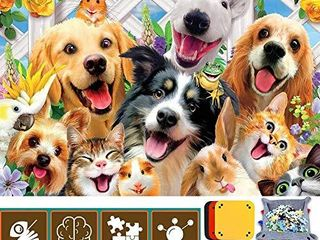 1000 Pieces Dog Jigsaw Puzzles for Adults Kids   Family Decorations Pattern Toy DIY Wall Art Home Decor   a large Poster The Sorting Trays it Comes Ideal for Relaxation Meditation Hobby Suit