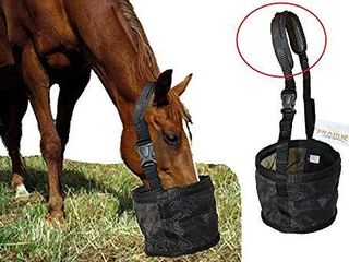 Feed Bag for Horses with Comfort Neck Pad  Heavy Duty Durable Canvas Grain Feedbag  Small Medium or large