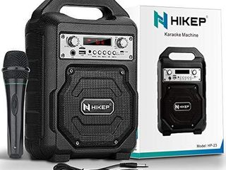HIKEP Portable Karaoke Machine for Kids Adults  Bluetooth Speaker with Wired Microphone for Party  Wireless PA Sound System with FM Radio Audio Recording TF USB Supported Portable Karaoke Home System