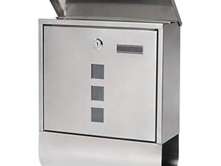 Stainless Steel Mailboxes with Key lock  Wall Mounted large Capacity Mailbox  Silver  14 3 5  x 12 4 5  x 4 1 3