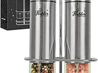 Electric Salt and Pepper Grinder Set   Battery Operated Stainless Steel Salt Pepper Mills 2  by Flafster Kitchen  Tall Power Shakers with Stand   Ceramic Grinders with lights and Adjustable Coarseness