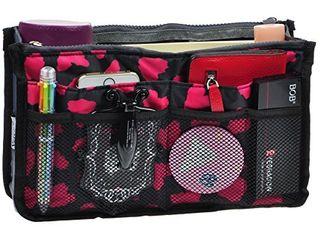 Vercord Purse Organizer Insert for Handbags Bag Organizers Inside Tote Pocketbook Women Nurse Nylon 13 Pockets Rose Heart Medium