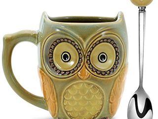 SQOWl 3D Coffee Mug Funny Cute Owl Ceramic Cup Coffee Mug with spoon Tea Mugs Set for Women and girls 12 oz Cyan