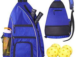 llYWCM Sling Bag   Pickleball Bag   Reversible Crossbody Sling Backpack for Pickleball Paddles  Tennis  Pickleball Racket and Travel for Women Men  Blue