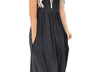 DB MOON Women Summer Casual Short Sleeve Dresses Empire Waist Dress with Pockets  Dark Grey  Xl