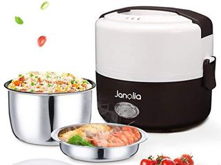 Janolia Electric Food Heater  1 3l  44oz Portable lunch Box with Stainless Steel Bowl and Plate  Food Steamer for Office and Home
