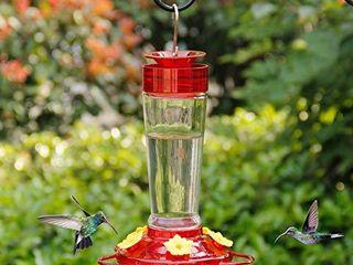 Shrdaepe Hummingbird Feeder  Glass Bottle Bird Feeders  5 Feeding Ports  10 Ounce Nectar Capacity