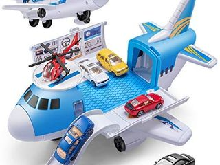 Geyiie Airplane Car Toys  Aircraft Car Set Toys with 5pcs Vehicle Car  Parking Scene Game with Stickers  a Helicoper Toy for Kids Toddlers Boys Girls Gift