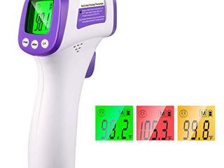 Thermometer for Adults Forehead Thermometer Non Contact Infrared Thermometer No Touch Digital Baby Thermometer for Adults and Kids No Batteries