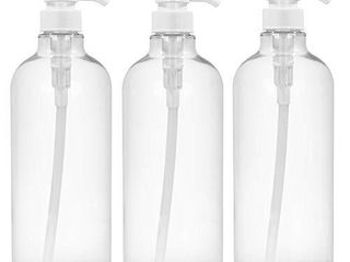 Clear Empty Plastic Shampoo Pump Bottles large 1liter 32oz Refillable Cylinder Bottle for Shampoo lotions Conditioner   Wash Shower Dispenser Pack of 3 4 labels as gift