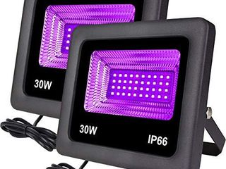 Remon 2 Pack 30W Black light  lED Flood light Outdoor Stage light with Plug Perfect for Neon Glow  Blacklight Party  Stage lighting  Fishing  Aquarium  DJ Disco