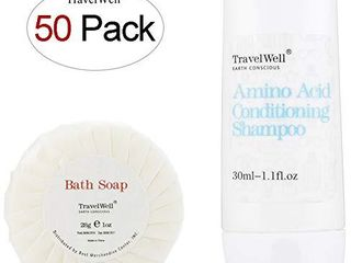 TRAVElWEll Hotel Shampoo and Soap Bulk Individually Wrapped 30ml Shampoo   Conditioner 2 in 1  50 Bottles   Round Tissue Pleated 28g Cleaning Travel Soap In Bulk  50 Bars