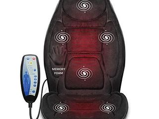 Snailax Memory Foam Massage Seat Cushion   Back Massager with Heat 6 Vibration Massage Nodes   2 Heat levels  Massage Chair Pad for Home Office Chair