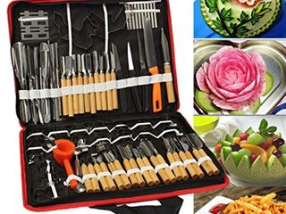 eoocvt 80pcs Set Portable Vegetable Fruit Food Peeling Culinary Kitchen Carving Sculpting Modeling Tools Kit Pack