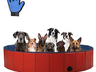 SURPCOS Foldable Dog Swimming Pool  New Upgraded Collapsible Pet Bath Pool for Dogs Cats and Children Indoor   Outdoor  large 63 x12