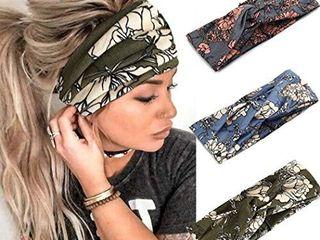 Catery Boho Headbands Criss Cross Headband Headpiece Bohemia Floal Twist Head Wrap Hair Band Vintage Stylish Elastic Turban Fabric Hairbands Fashion Hair Accessories for Women Pack of 3   Boho