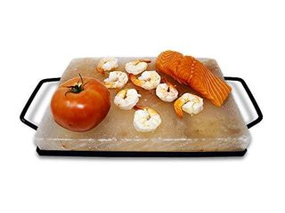 Himalite Himalayan Pink Salt Block   Metal Tray Set 12 x 8 x 1 5 for Cooking  Grilling  Cutting  and Serving with Himalayan Cooking Accessories