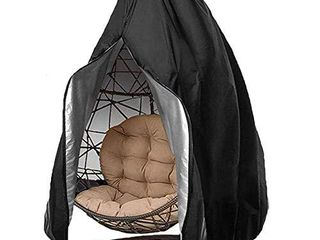 skyfiree Patio Egg Chair Cover Waterproof Egg Swing Chair Cover with Zipper Outdoor Pod Chair with Stand Cover 75x45 inches Black