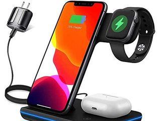 3 in 1 Wireless Charger  Upgraded Version Wireless Charging Station for Apple Watch 5 4 3 2 1   AirPods Wireless Charging Station 15W Qi Fast Charger for Airpods Pro iPhone 11 11 Pro Max XR XS X 8 8P