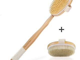 2pcs Body Brush for Dry or Wet Bath Brushing  Back Shower Scrubber with Anti slip long Detachable Wooden Handle  100  Natural Bristles  Perfect for Exfoliating  Detox and Cellulite  Blood Circulation