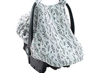 Bebe au lait Classic Muslin Car Seat Cover  Easy Snap Straps  Fully Zippered Opening   leaves