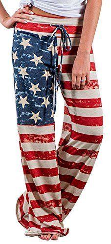 X Image Women s American Flag Floral Drawstring High Waist Wide leg Pants Multicoloured  X large