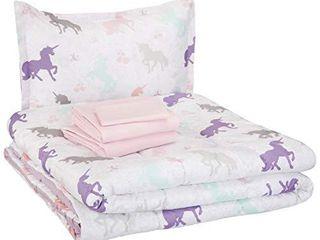 Amazon Basics Easy Care Super Soft Microfiber Kid s Bed in a Bag Bedding Set   Twin  Purple Unicorns