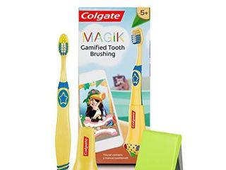 Colgate Magik Smart Toothbrush for Kids  Kids Toothbrush Timer with Fun Brushing Games Yellow 1 Count