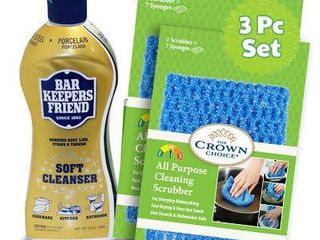 BAR KEEPERS FRIEND Soft Cleanser  13 OZ  with All Purpose Scrubber Cloth   Durable and Multipurpose  Cleans Stainless Steel  Rust  Minerals