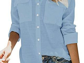 SAOVERE Women s Shirts and Blouses long Sleeves Button Down Pockets Blue