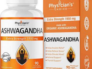 Ashwagandha 1950mg Organic Ashwagandha Root Powder with Black Pepper Extract  Anxiety Relief  Mood   Thyroid Support  90 Veggie Ashwagandha Capsules