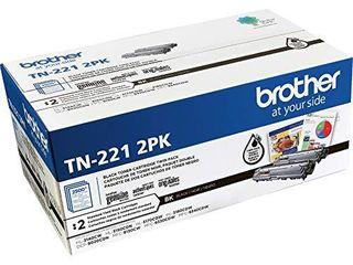 Brother Genuine Standard Yield Black Toner Cartridge Twin Pack TN221 2PK