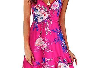UlTRANICE Womens Summer Floral Wrap V Neck Adjustable Spaghetti Ruffle Dress Floral11 S
