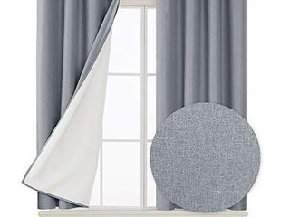 Deconovo Faux linen Total Blackout Curtains Thermal Insulated Room Darkening 100 Sun Blocking Noise Reduction Energy Saving Grommet Draperies for Sliding Glass Door Grey 52Wx 45l  Set of 2 Panels