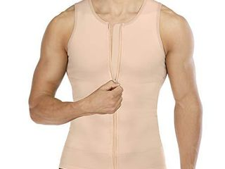 Wonderience Compression Shirts for Men Undershirts Slimming Body Shaper Waist Trainer Tank Top Vest with Zipper  Beige  large