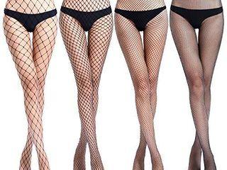 Womens High Waist Fishnet Tights Suspenders Pantyhose Thigh High Stockings Black  Black A26