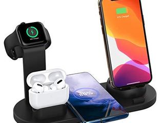 SHRMIA Wireless Charger Stand  4 in 1 Multi Function Wireless Charging Station Dock Kit for Airpods Pro Apple Watch  Qi Fast Wireless Charger Holder Pad for iPhone 11 11 Pro Max XS XR Samsung  Black