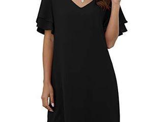 QIXING Women s Summer Casual loose Mini Dress V Neck Bell Short Sleeve Shift Dress Black l