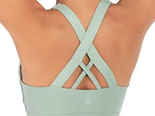 RUNNING GIRl Sports Bra for Women  Criss Cross Back Padded Strappy Sports Bras Medium Support Yoga Bra with Removable Cups WX2353 Green CN Xl US l