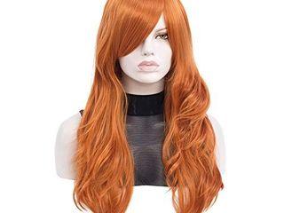Qaccf Ginger Wig   26  long Straight Side Bang Daphne Costume Wig  Orange Wig