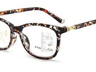 Progressive Multifocus Reading Glasses for Men   Women  No line Multifocal Readers Blue light Blocking Reading Glasses  100  UV Protection  Improved Sight  Tortoise 1 5X